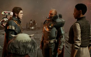 Cal, Greeze, Cere, and Saw discuss the revolution on Kashyyyk.